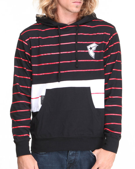 Famous Stars & Straps Black Liberation Logo Striped Pullover Hoodie