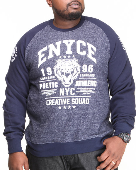 Enyce - Men Navy Kai Raglan Crew Neck Fleece (B&T)