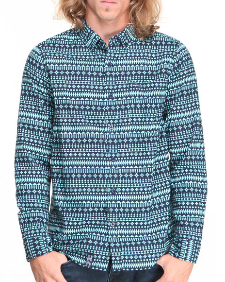 Lrg - Men Navy Arctek L/S Button-Down
