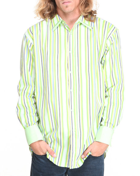 Basic Essentials - Men Green Striped Woven Shirt