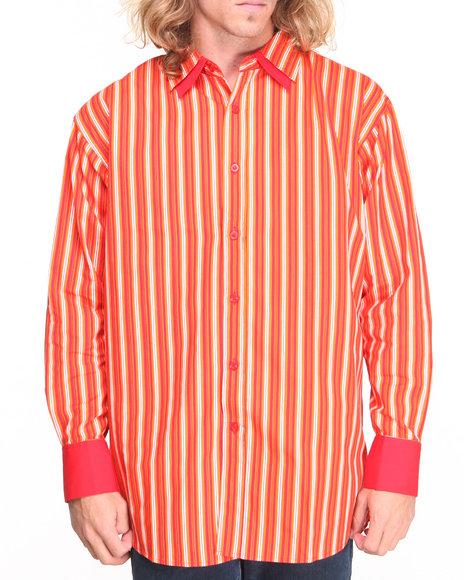 Basic Essentials - Men Red Striped Woven Shirt