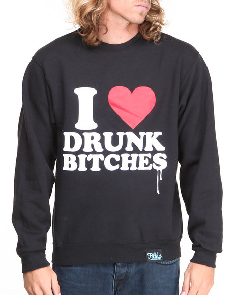 Filthy Dripped - Men Black Love Drunk Crew Sweater