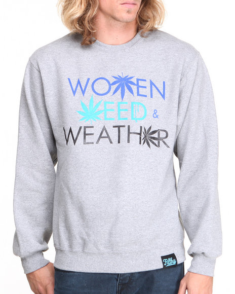 Filthy Dripped Grey Weed Weather Crew Sweatshirt