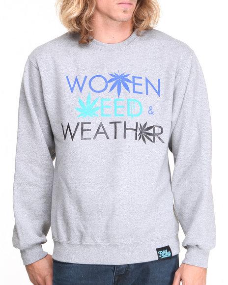 Filthy Dripped - Men Grey Women Weed Weather Crew Sweatshirt