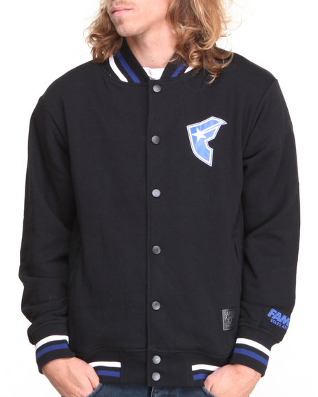 Famous Stars & Straps Black Billionaire Fleece Varsity Jacket