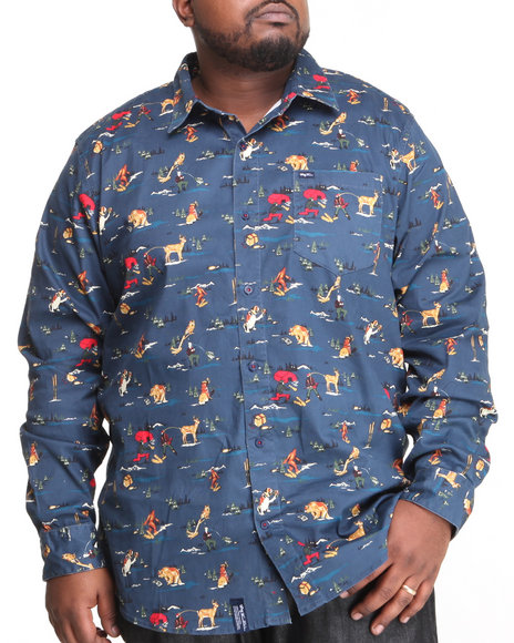 LRG Navy Father Nature L/S Button-Down (Big & Tall)