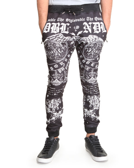 Double Needle Black Anarchy Sublimated Pants