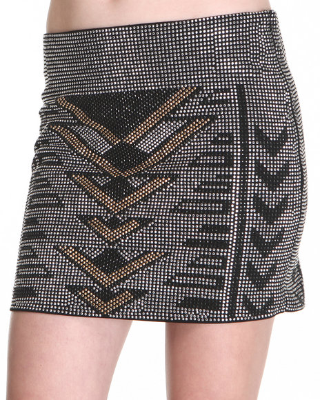 Djp Outlet - Women Black,Silver Dance In The Dark Studded Skirt