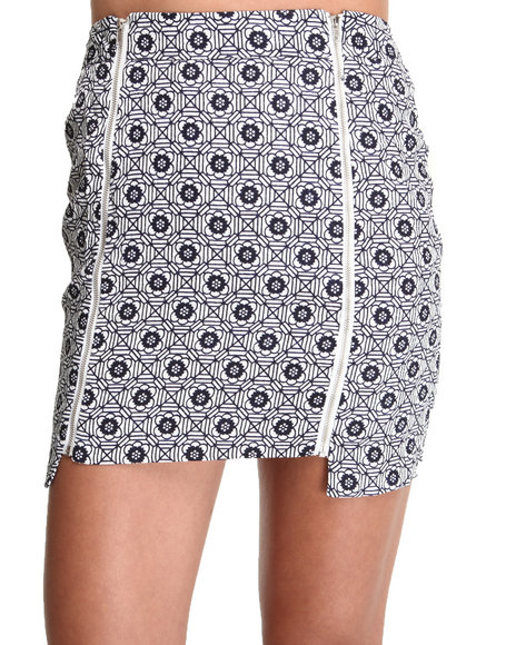 Djp Outlet - Women Navy,White Floral Print Skirt