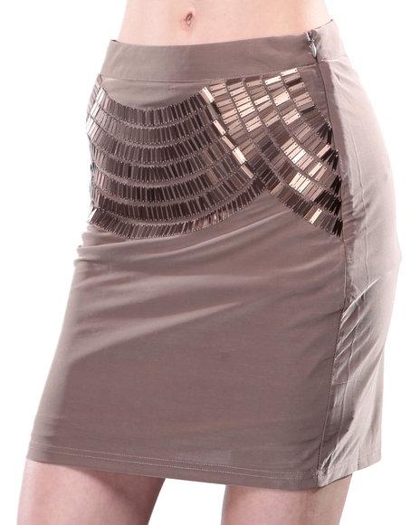 Djp Outlet - Women Beige Metallic Skirt