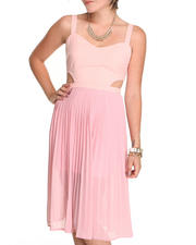 Women - Pleated Dress with side cutouts