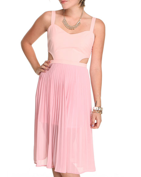Djp Outlet - Women Pink Pleated Dress With Side Cutouts - $24.99