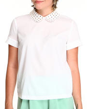 Tops - Short Sleeve Studded Collar Top