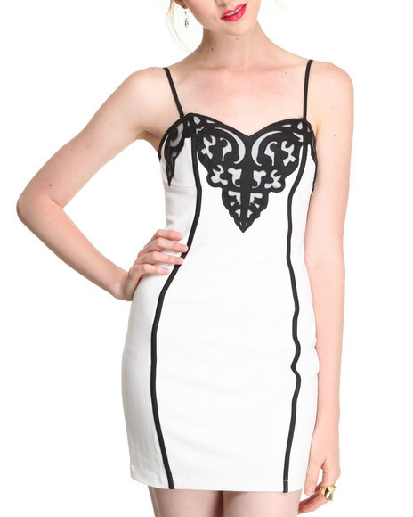 Djp Outlet - Women Cream Tanya Vegan Leather Patched Tube Dress