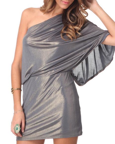Djp Outlet - Women Gold 1 Shoulder Gold Liquid Metallic Dress
