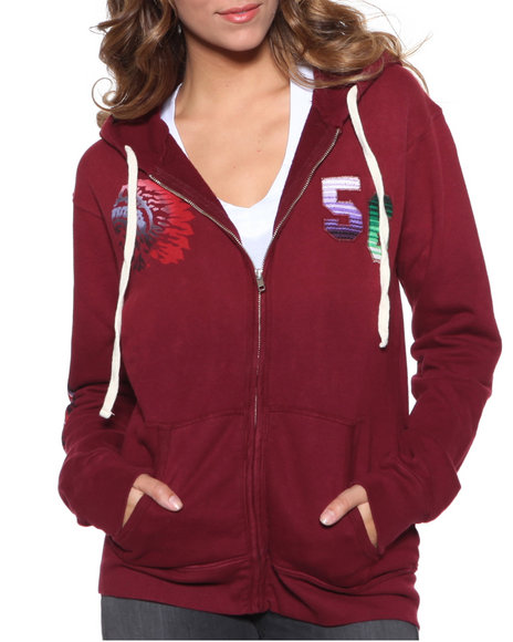 Djp Outlet - Women Maroon Chief Classic Hoodie