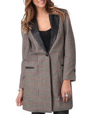 DJP OUTLET - Sophia Leather Lapel Patchwork Coat