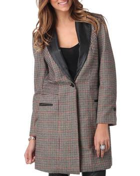 DJP OUTLET - Sophia Leather Lapel Patchwork Coat