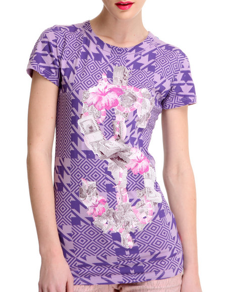 Djp Outlet - Women Purple Lady Baltimore  Organic Dollar Printed Tee - $25.99