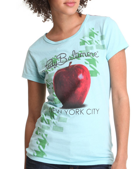 Djp Outlet - Women Light Blue Lady Baltimore  Times Square Short Sleeve Crew Tee