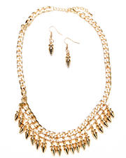 Women - Crystal & Spikes Necklace w/ Earrings