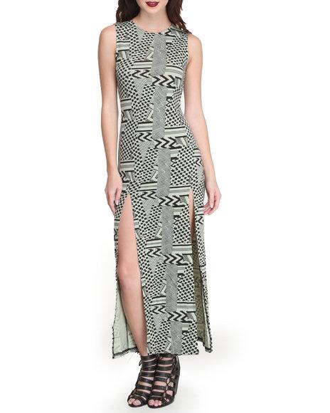 Fashion Lab - Women Black,Green Aztec Geo Print Sleeveless Maxi Dress