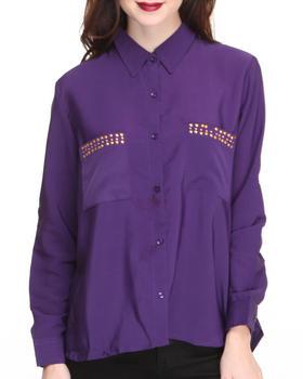Apple Bottoms - Studded Collar & Pockets Roll-up Sleeve Shirt