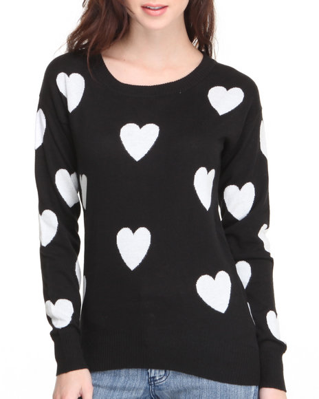Fashion Lab - Women Black Love Heart Detail Light Weight Pullover