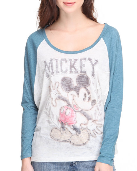 Graphix Gallery - Women Blue Mickey Raglan Printed Tee