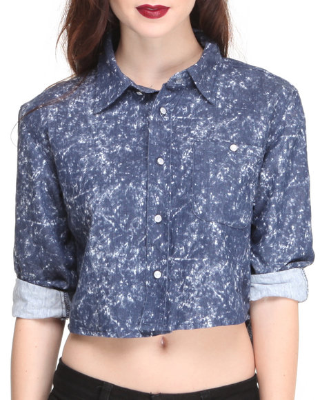 Apple Bottoms - Women Blue Denim Acid Wash Shirt