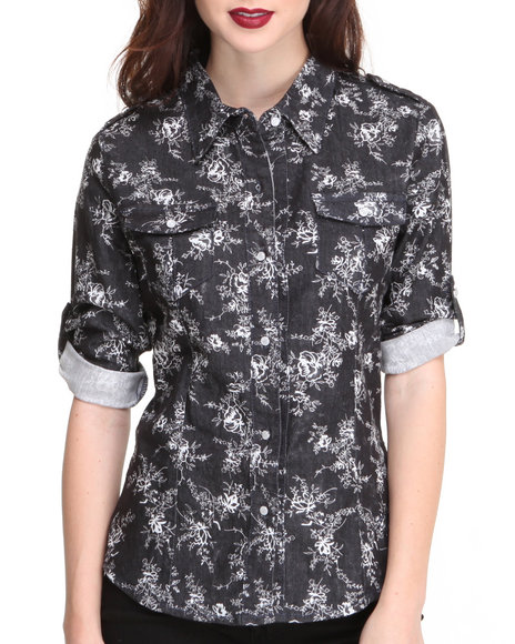 Apple Bottoms Black,White Denim Printed Shirt