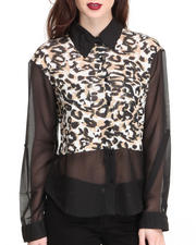 Women - Animal Solid Colorblock Shirt