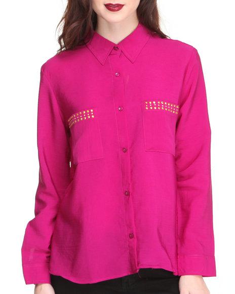 Apple Bottoms - Women Pink Studded Collar & Pockets Roll-Up Sleeve Shirt