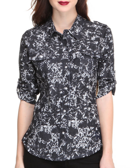 Apple Bottoms - Women Black Denim Printed Shirt - $11.99