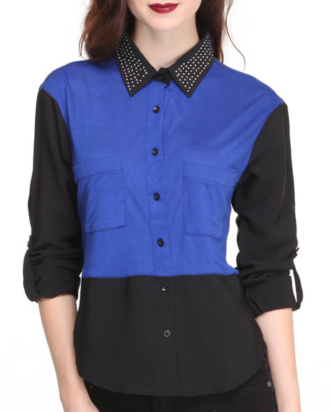 Apple Bottoms - Studded Collar Colorblock Shirt
