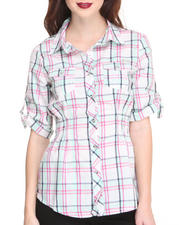 Women - Plaid Smocked Waist Shirt