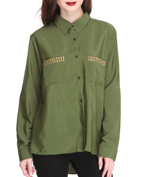 Apple Bottoms - Women Olive Studded Collar & Pockets Roll-Up Sleeve Shirt