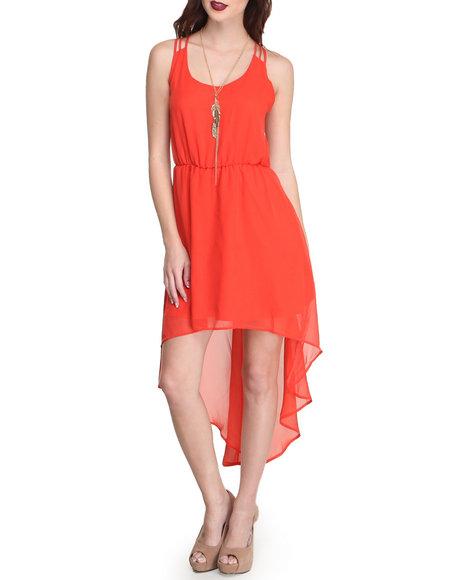 Fashion Lab - Women Coral Chiffon Hi-Lo Racerback Dress W/ Cutout Detail In Back