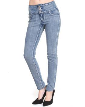 Basic Essentials - Donna 3-Button High Waist Skinny Jean