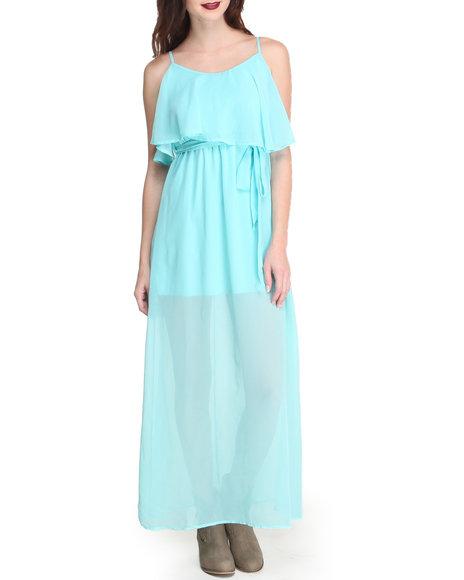 Fashion Lab - Women Light Blue Lined Chiffon Cascade Ruffle Maxi Dress W/ Belt