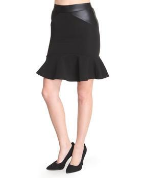 Basic Essentials - Mercer Textured Skirt w/vegan leather detail