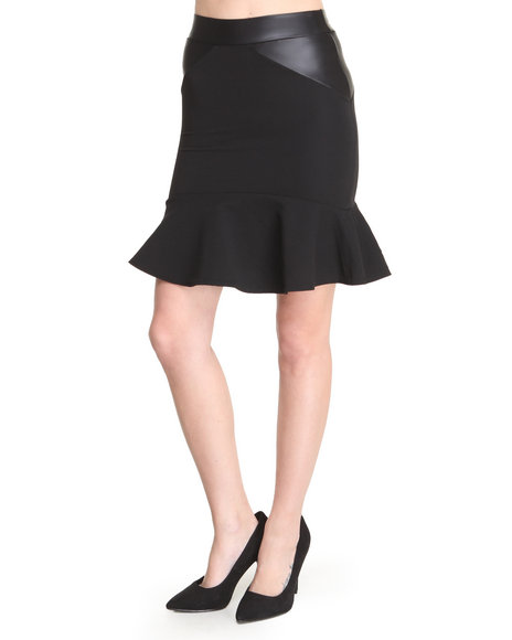 Basic Essentials - Women Black Mercer Textured Skirt W/Vegan Leather Detail