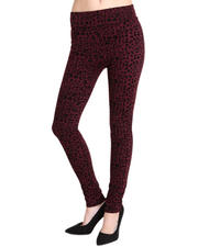Basic Essentials - Taylor Animal Printed Legging W/Flocking Detail