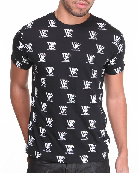 Well Established - Men Black Well Established Allover Print Crew Neck Tee
