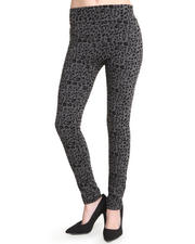 Fashion Lab - Olympia Animal Printed Legging W/Flocking Detail