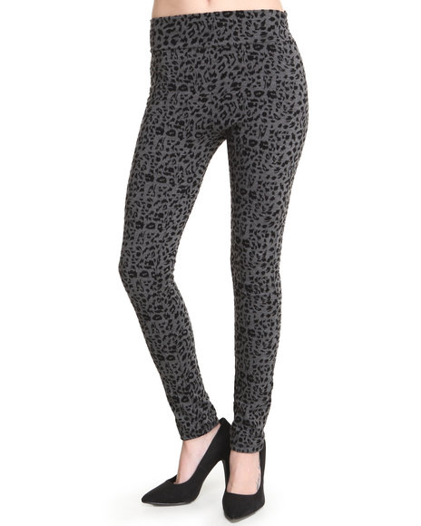 Fashion Lab - Women Grey Olympia Animal Printed Legging W/Flocking Detail