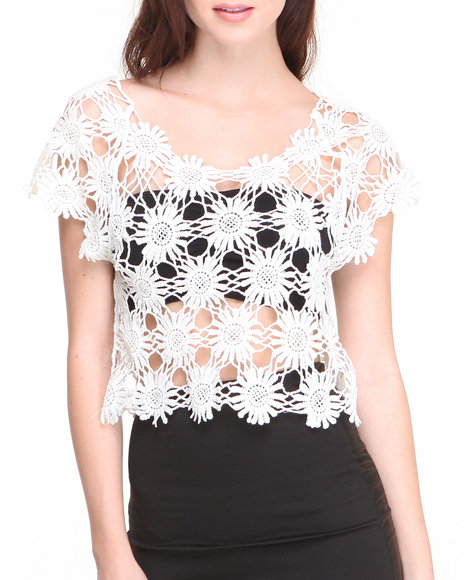 Basic Essentials - Women Cream Daisy Embroidered Short Sleeve Crop Top