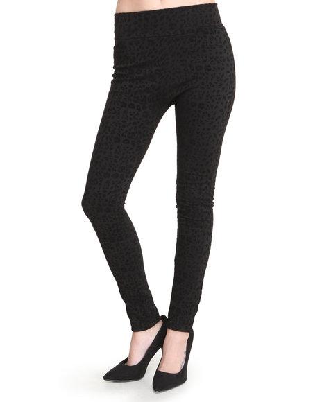 Fashion Lab - Women Black Jessica Animal Printed Legging W/Flocking Detail