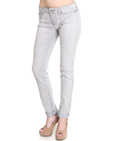 Basic Essentials - Women Grey Super Stretch Skinny Jean Pants - $13.99