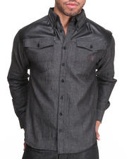 Button-downs - Well Chambray Plaid Button down Shirt w/ Vegan Leather Detail